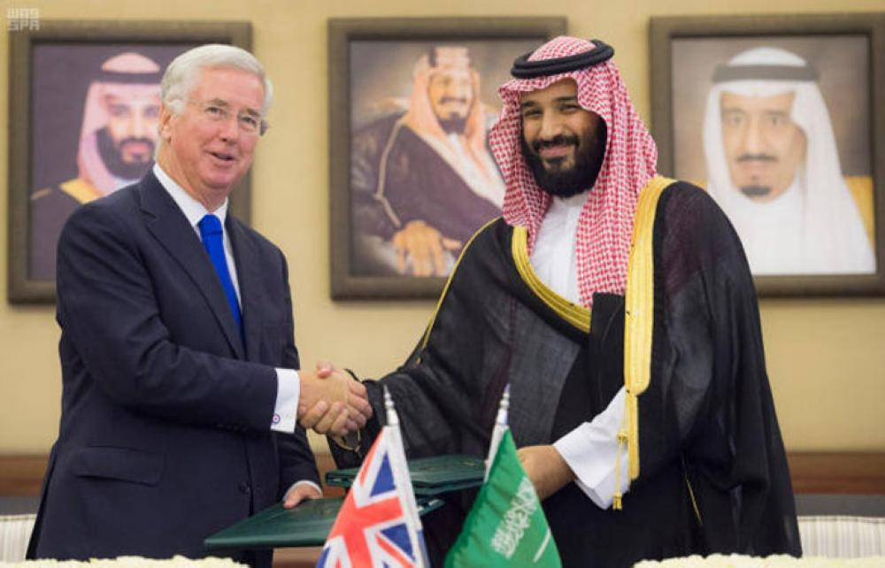 Crown Prince Muhammad Bin Salman, deputy premier and minister of defense, and the British Secretary of State for Defense Michael Fallon during their meeting in Jeddah on Tuesday. — SPA