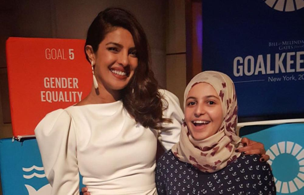 Actress Priyanka Chopra poses with Muzoon Almellehan, a Syrian activist and refugee known for her work to keep Syrian girls in school, during the UN Global Goals Awards at the UN General Assembly in New York City on Wednesday.