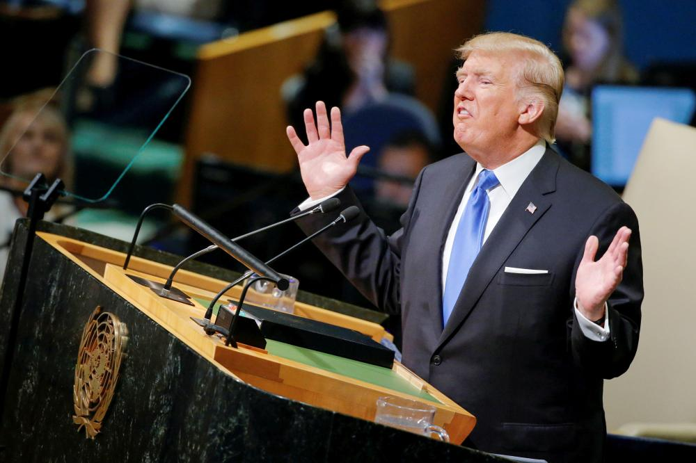 US President Donald Trump addresses the 72nd United Nations General Assembly at UN headquarters in New York on Tuesday. — Reuters