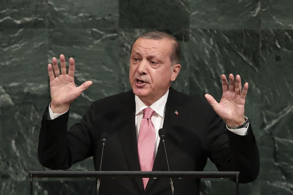 Turkish President Recep Tayyip Erdogan addresses the United Nations General Assembly at UN headquarters, Tuesday. — AFP