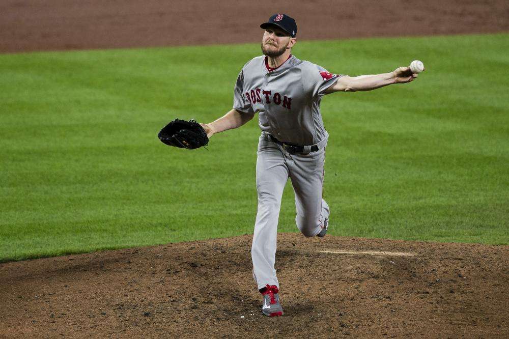 Boston Red Sox's starting pitcher Chris Sale pitches in the sixth inning against the Baltimore Orioles at Oriole Park at Camden Yards in Baltimore Wednesday. — Reuters