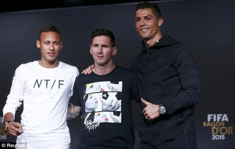 (From L)  Neymar, Lionel Messi and Cristiano Ronaldo