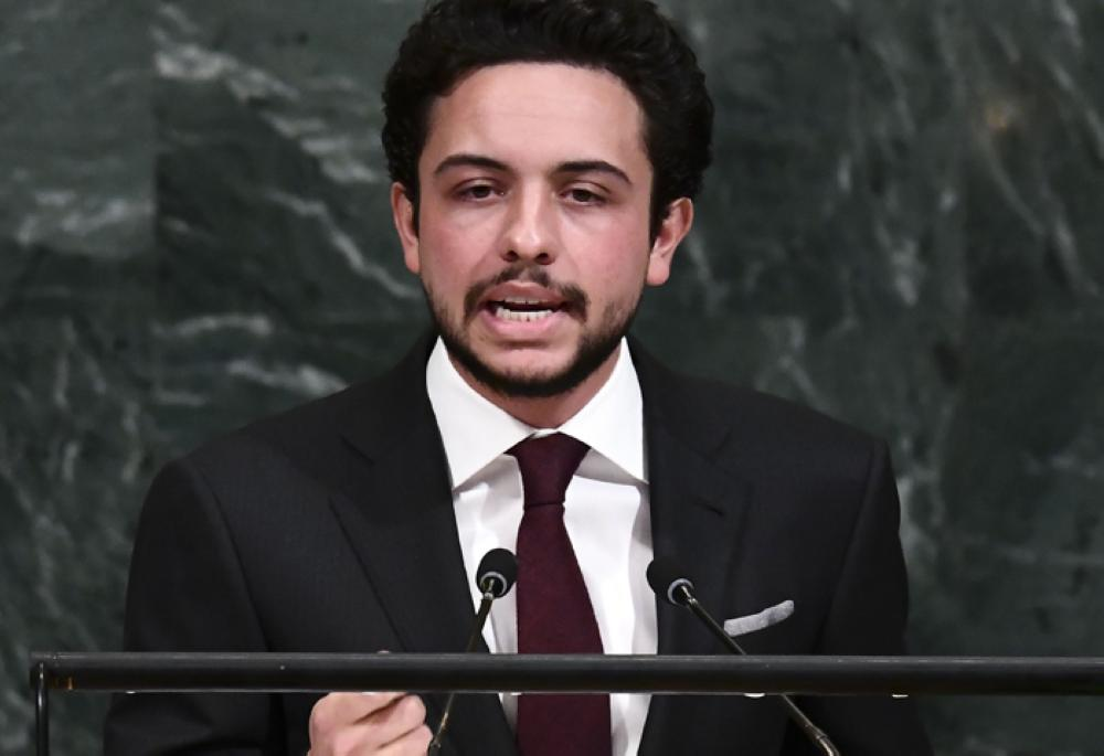 Jordan's Crown Prince Hussein Bin Abdullah addresses the 72nd session of the United Nations General assembly at the UN headquarters in New York, Thursday. — AFP
