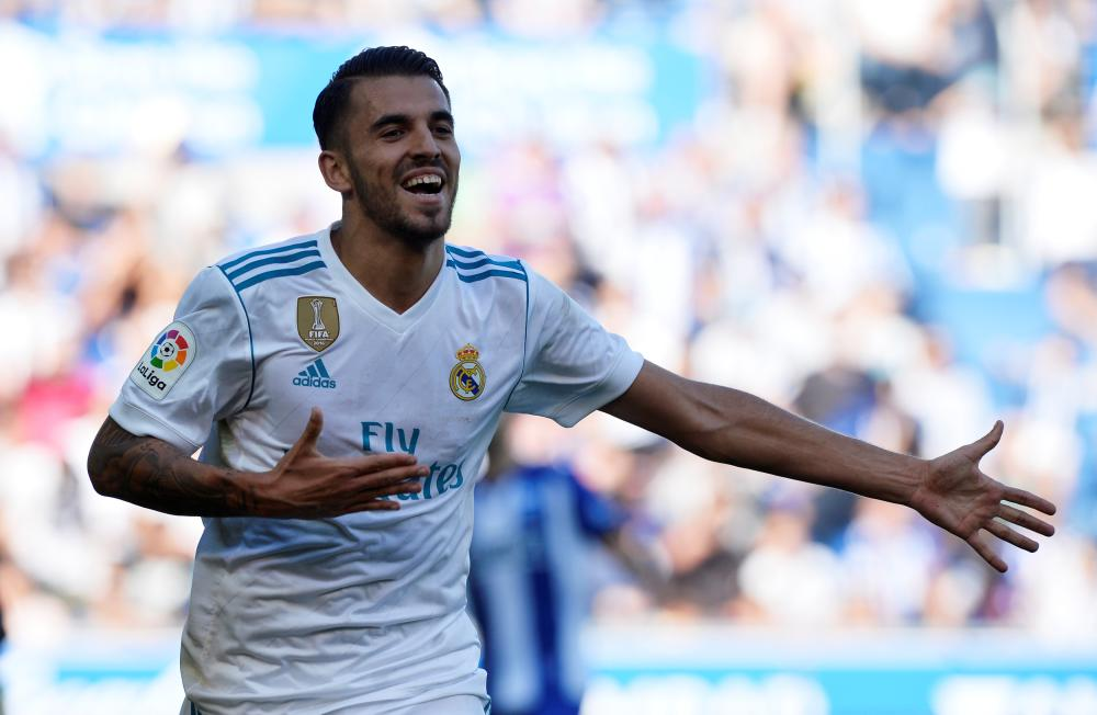Real Madrid's Dani Ceballos celebrates scoring their second goal against Alaves at the Mendizorrotza Stadium, Vitoria-Gasteiz, Spain, Saturday. — Reuters