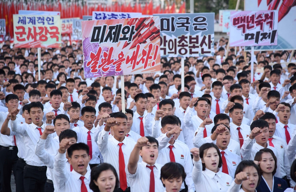 An anti-US rally at Kim Il Sung Square is seen in this Sept. 23, 2017 photo released by North Korea's Korean Central News Agency (KCNA) in Pyongyang on Monday. — Reuters