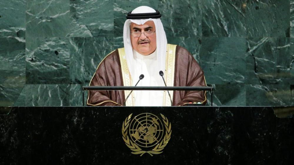 Bahrain's Minister of Foreign Affairs Shaikh Khalid Bin Ahmed Al-Khalifa addresses the 72nd United Nations General Assembly at UN headquarters in New York. — Reuters