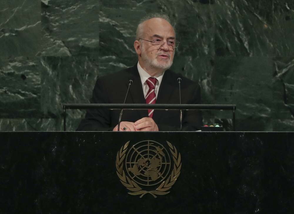 Iraq's Minister for Foreign Affairs Ibrahim Al-Jaafari speaks during the 72nd session of the United Nations General Assembly, Saturday, Sept. 23, 2017, at UN headquarters. — AP