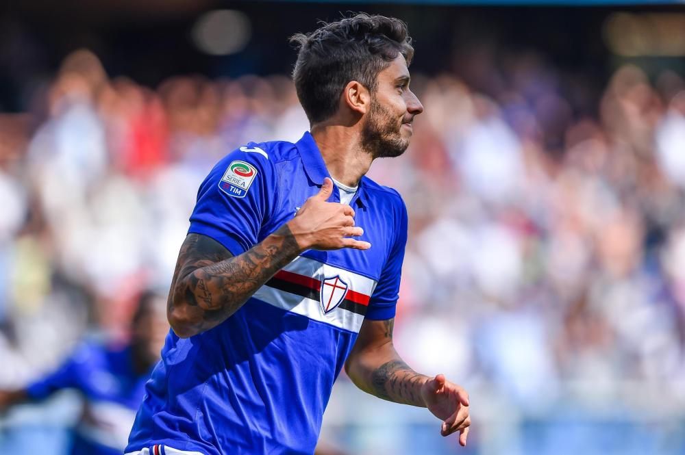 Sampdoria's Ricardo Alvarez celebrates after scoring against AC Milan during their Italian Serie A match at the Luigi Ferraris Stadium in Genoa Sunday. — AP