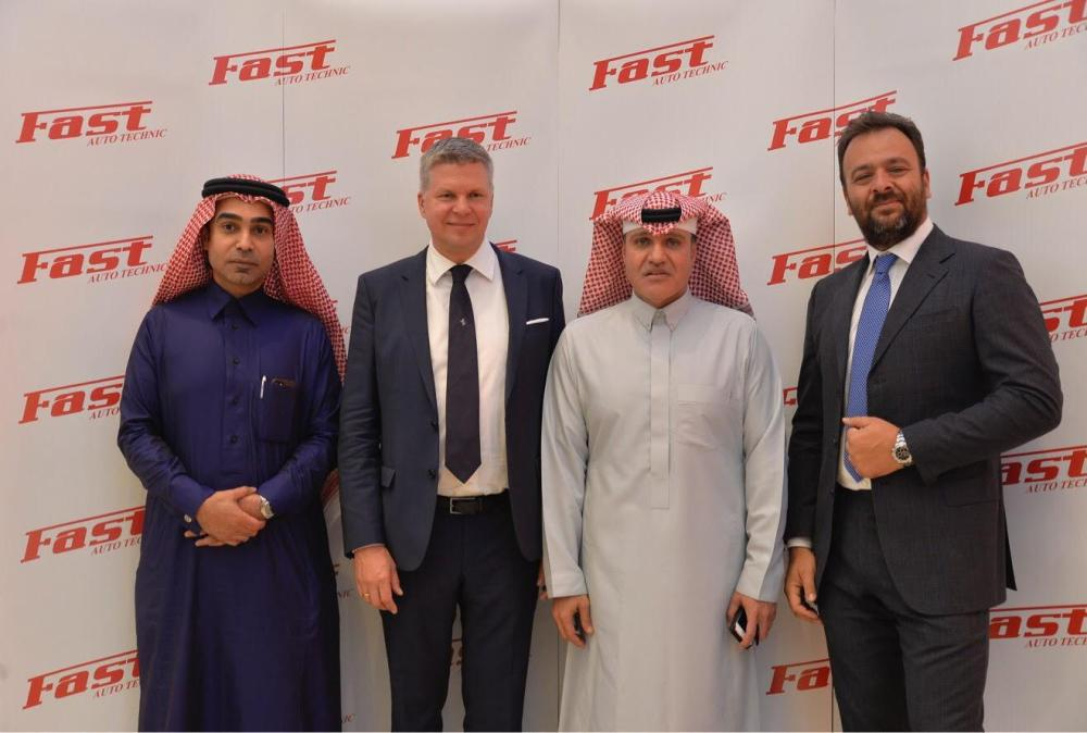 Sheikh Mohammed Wajih Sharbatly, Chairman of Fast Auto Technic, with other executives at the unveiling of the state-of-the-art Maserati & Ferrari showroom in Riyadh