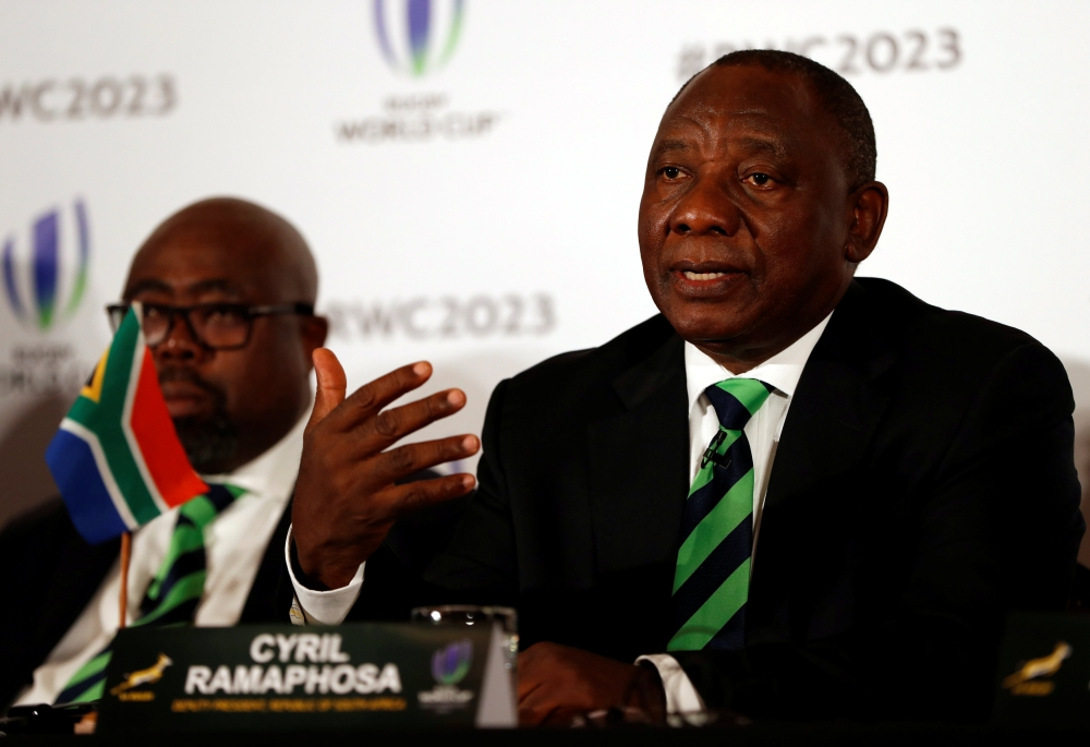Cyril Ramaphosa, deputy president of South Africa during the Rugby World Cup 2023 host country candidates press conference at the Royal Garden Hotel, London, on Monday. — Reuters