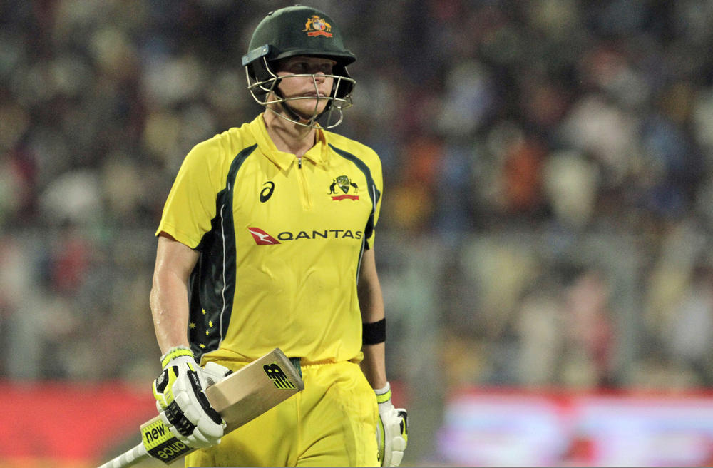Australia's Steve Smith walks back to the pavilion after his dismissal during the second One-Day International cricket match against India at Eden Gardens in Kolkata, India, Thursday. — AP