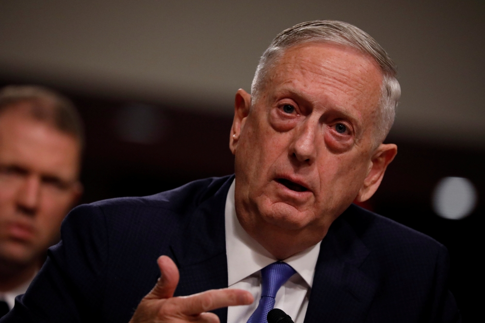 U.S. Secretary of Defense James Mattis testifies before a Senate Armed Services Committee hearing on the