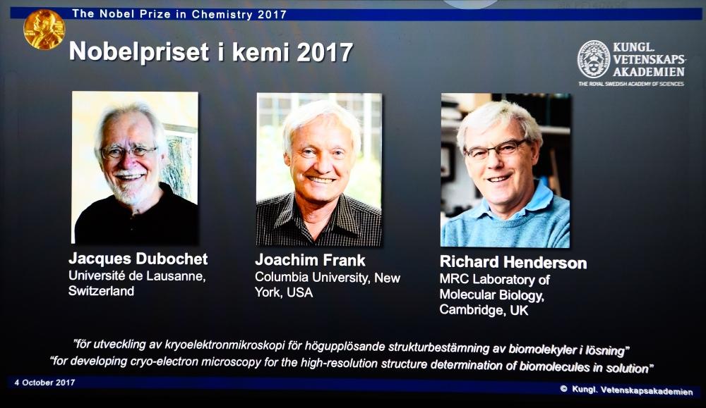 Dubochet, Frank, Henderson Win 2017 Nobel Prize in Chemistry