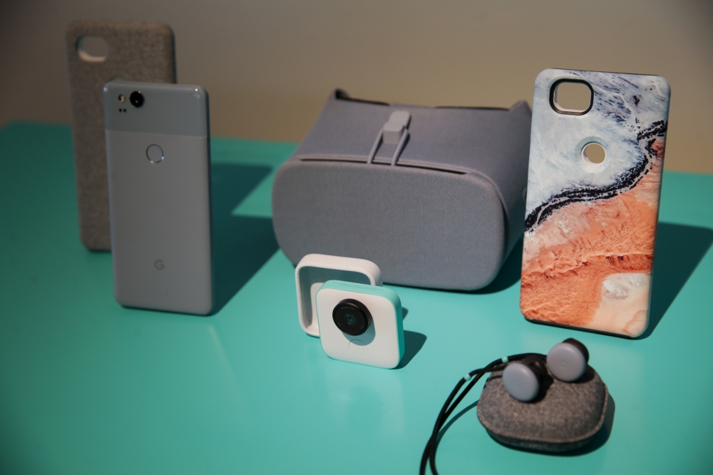 Google's new Home and Pixel products are seen at a product launch event on  at the SFJAZZ Center in San Francisco, California. — AFP