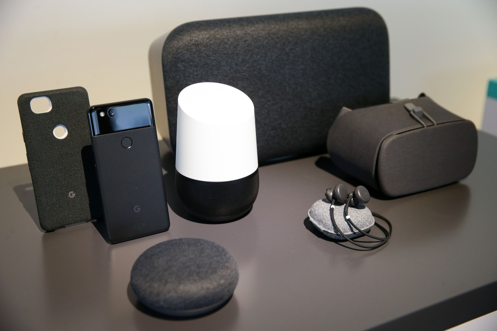 Google's new Home and Pixel products are seen at a product launch event at the SFJAZZ Center in San Francisco, California. Google unveiled newly designed versions of its Pixel smartphone, the highlight of a refreshed line of devices which are part of the tech giant's efforts to boost its presence against hardware rivals. — AFP