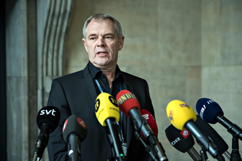 Copenhagen Police Chief Investigator Jens Moeller Jensen gives a press briefing in connection with new findings in the case against submarine captain Peter Madsen on  in Copenhagen, Denmark, on Saturday. — AFP