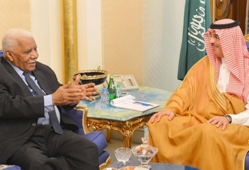 Minister of Culture and Information Awwad Al-Awwad holds talks with Ahmad Bilal Othman, deputy prime minister and minister of information of Sudan, in Riyadh on Thursday.