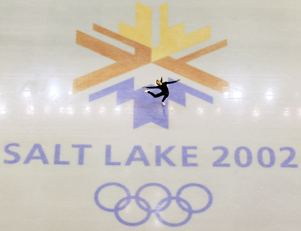 This file photo shows US champion Michelle Kwan practicing for the women's short program for the Winter Olympic Games in Salt Lake City at the Salt lake Ice Center. Salt Lake City is forming an exploratory committee to decide if the city will bid to host another Winter Olympics in either 2026 or 2030. — AP
