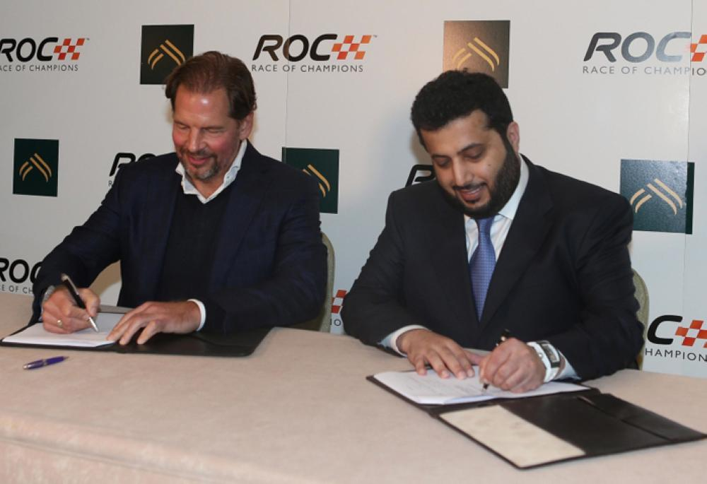 President of the General Sport Authority of Saudi Arabia Turki Al-Sheikh (right) and ROC President Fredrik Johnsson sign an agreement in London to organize Race of Champions in Riyadh. — SPA