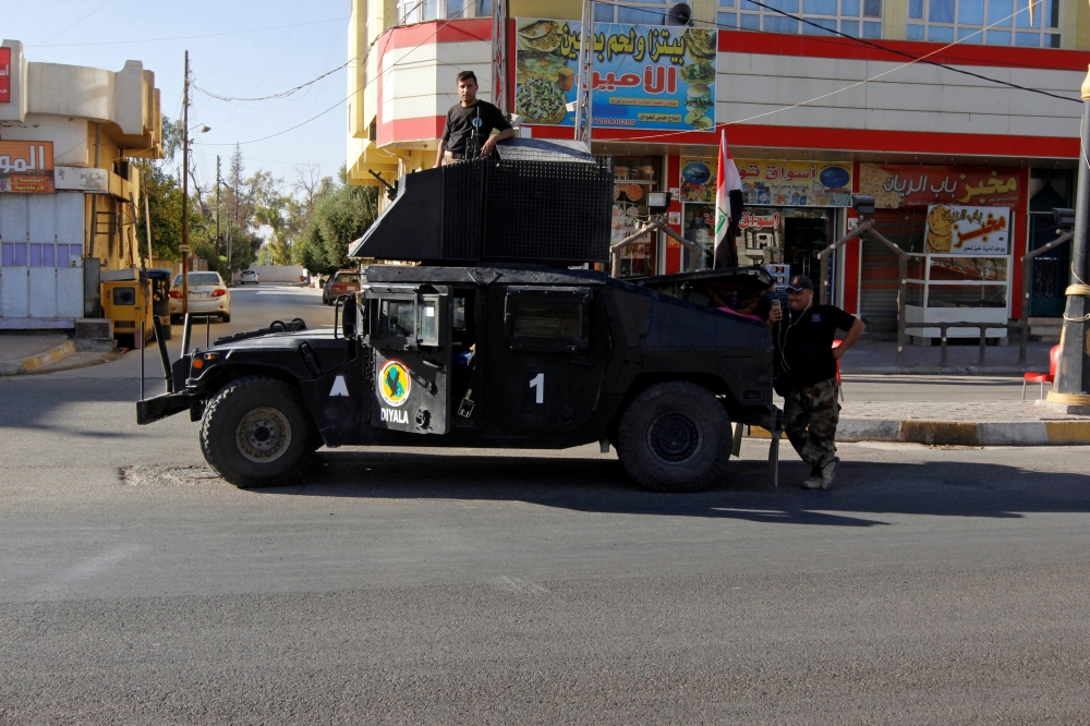 A vehicle of the Iraqi Federal police is seen on a street in Kirkuk. — Reuters
