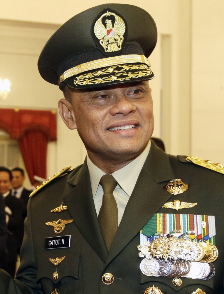 In this file photo, Indonesian Armed Forces Chief Gen. Gatot Nurmantyo poses for a photo after his swearing-in ceremony at the presidential palace in Jakarta, Indonesia. — AP
