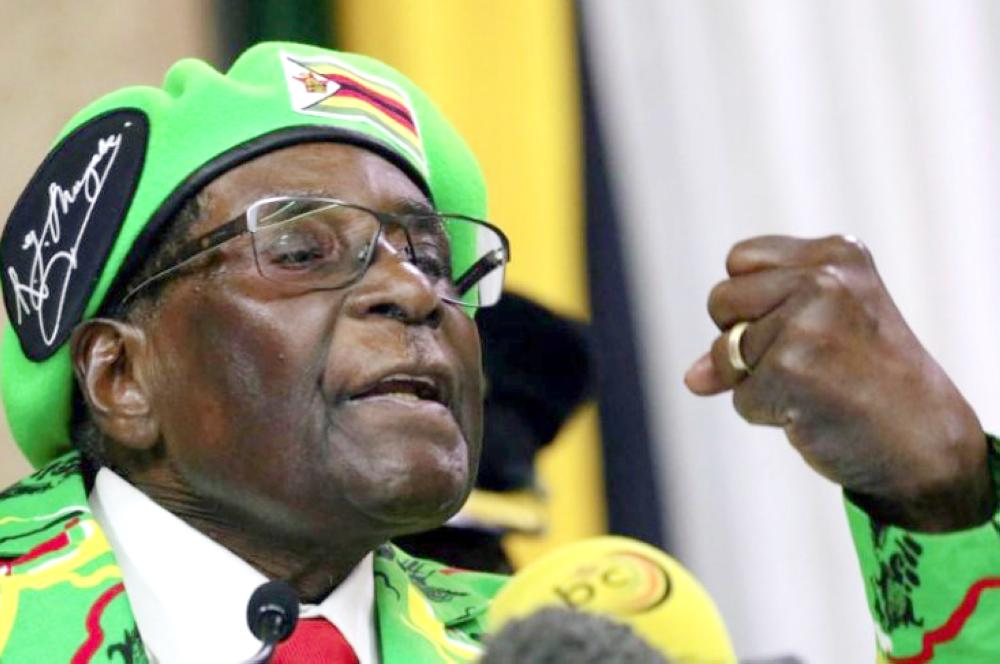 Zimbabwean President Robert Mugabe addresses a meeting of his ruling ZANU PF party's youth league in Harare, Zimbabwe, on Oct. 7. — Reuters