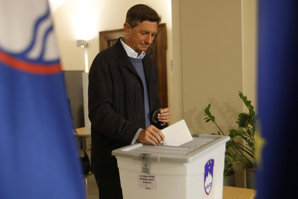 Presidential candidate Borut Pahor casts his ballot at a polling station during the presidential election in Sempeter pri Novi Gorici, Slovenia on Sunday. — Reuters