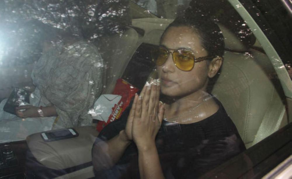 Actress Rani Mukherjee arrives at the Pawan Hans Crematorium for the cremation of her late father, filmmaker Ram Mukherjee in Mumbai on Sunday afternoon.