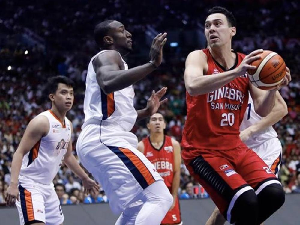Ginebra' Greg Slaughter goes up against Meralco's Allen Durham in Game 5 of the PBA Governors' Cup Finals at the Philippine Arena in Bocaue, Bulacan Sunday night.