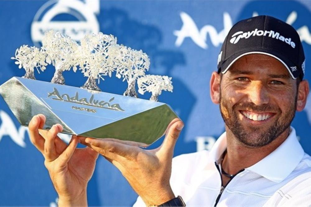 Sergio Garcia holds the Andalucia Valderrama Masters Trophy