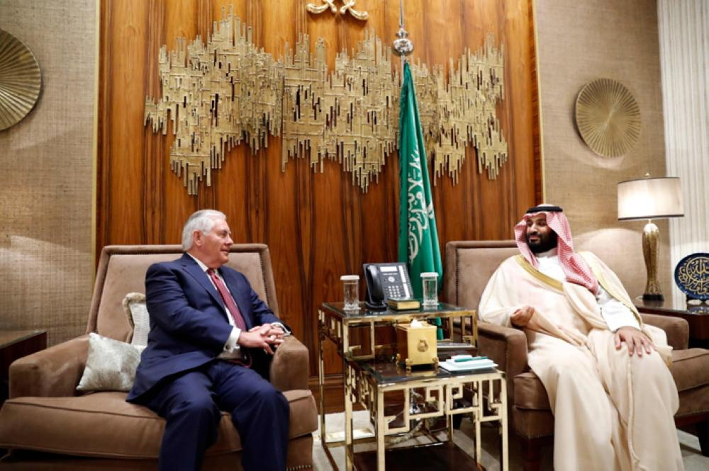 Crown Prince Muhammad Bin Salman, deputy premier and minister of defense, meets US Secretary of State Rex Tillerson in Riyadh on Sunday. -- SPA
