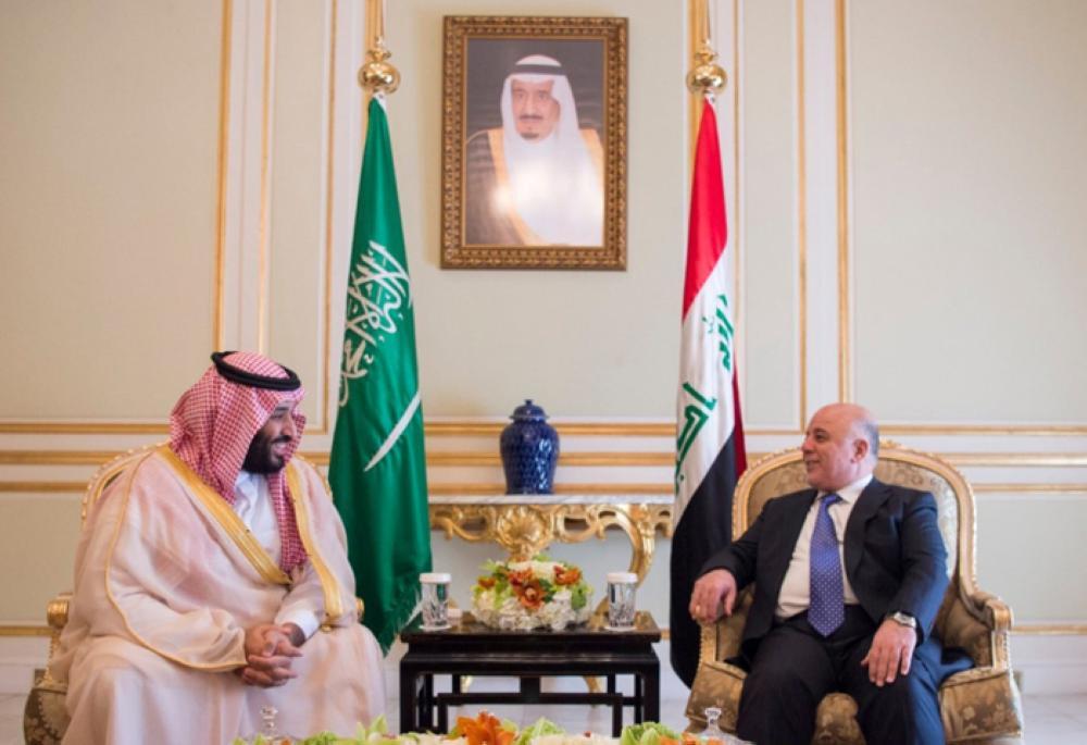 Crown Prince Muhammad Bin Salman, deputy premier and minister of defense, holds talks with Iraqi Prime Minister Dr. Haider Al-Abadi in Riyadh on Sunday. -- SPA