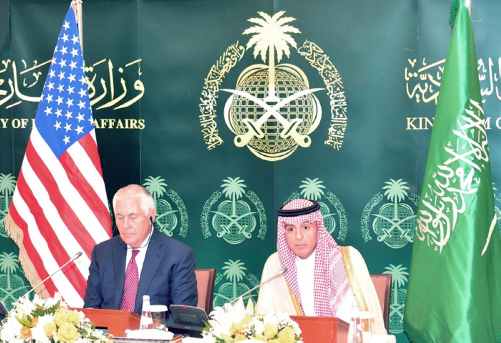 US Secretary of State Rex Tillerson and Minister of Foreign Affairs Adel Al-Jubeir addressing a joint press conference in Riyadh on Sunday. -- SPA