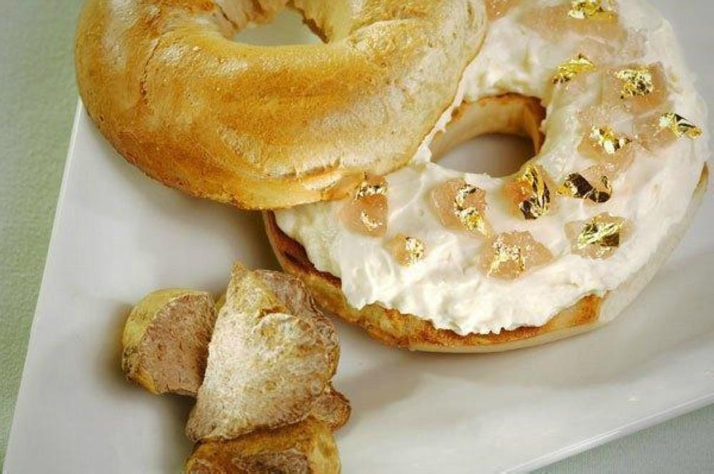 A $1,000 bagel topped with gold leaves is seen in this photo provided by the Westin New York hotel.