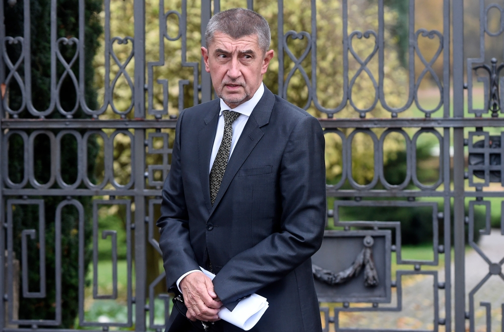 Leader of the ANO movement ('YES') and billionaire Andrej Babis arrives to talk to journalists after a meeting with Czech Republic's president on monday at the Lany Castle in the village of Lany, west of Prague. Czech President said he would ask billionaire Andrej Babis to form the next government, a day after his populist ANO movement cruised to victory in the general election.— AFP