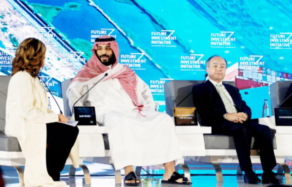 Crown Prince Muhammad Bin Salman, deputy premier and minister of defense, attends a panel discussion at the Future Investment Initiative conference in Riyadh on Tuesday. — Reuters