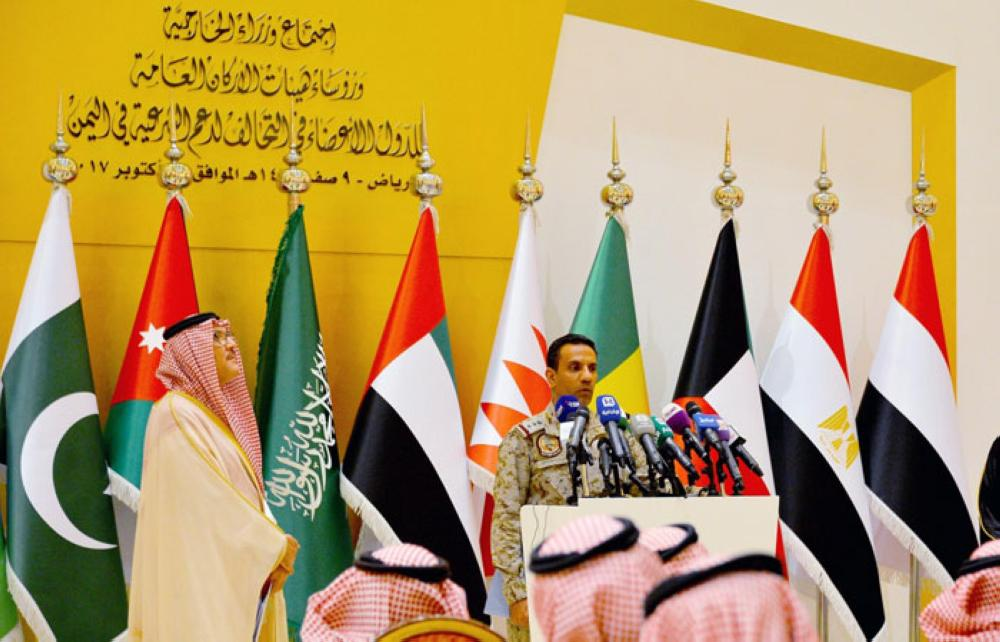Col. Turki Al-Malki, spokesman of the Arab Coalition Forces, addresses a press conference in Riyadh on Sunday. — SPA