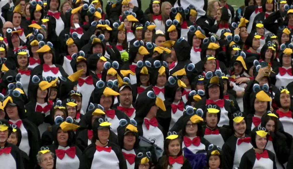 University sets record for people dressed as penguins