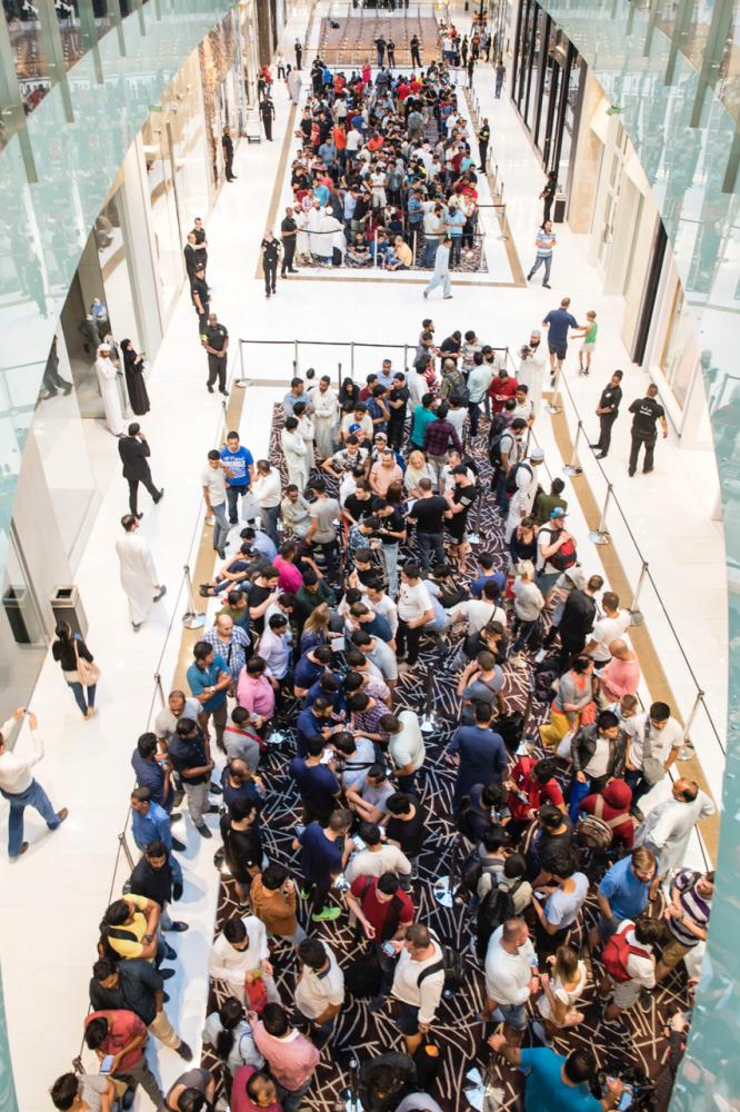 Long lines formed at the launch of iPhone X in UAE on Friday. — SG