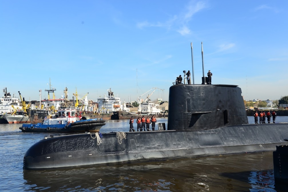 Handout picture taken in 2014 and released by the Argentine Navy on Saturday showing submarine ARA San Juan docked in Buenos Aires. — AFP