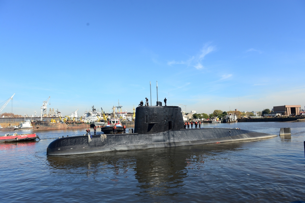 The Argentine military submarine ARA San Juan and crew are seen leaving the port of Buenos Aires, Argentina , in this June 2, 2014 file photo. — Reuters