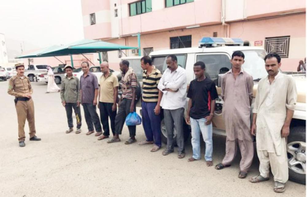 Some of the rounded up illegal expatriates in Asir. — Okaz photos
