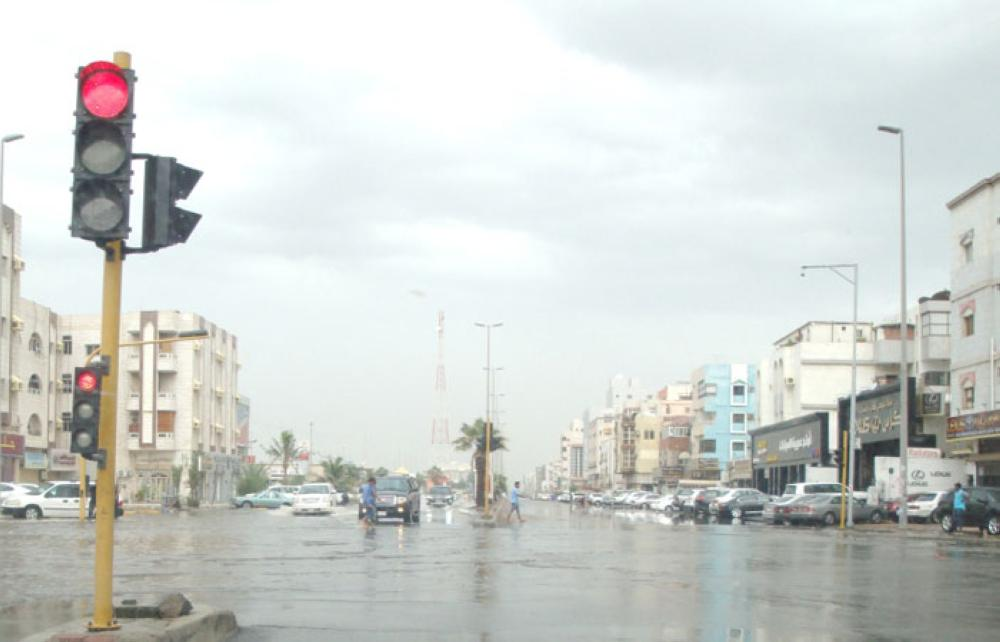 A flooded street in Jeddah after a heavy downpour on Tuesday. — SG photo by Syed Mujahid Ali Zaidi
