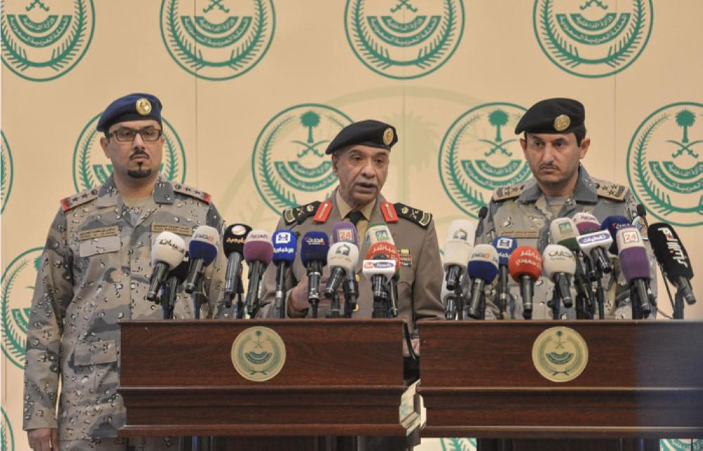 Security Spokesman of the Ministry of Interior Maj. Mansour Al-Turki (center) addressing a press conference in Riyadh on Wednesday. — SPA