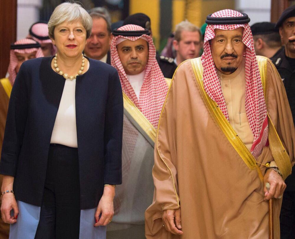 Custodian of the Two Holy Mosques King Salman receives British Prime Minister Theresa May in Riyadh on Wednesday.  — SPA photos
