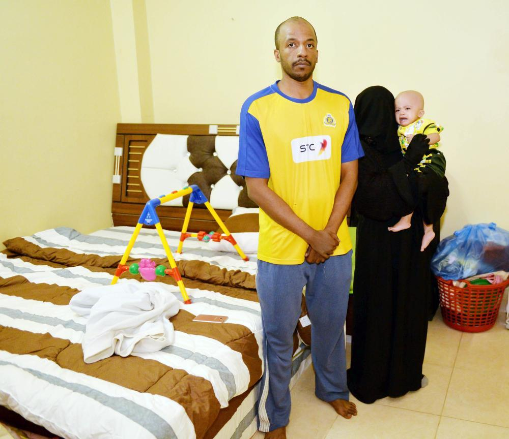 Sultan Al-Turki in his two-room apartment.
