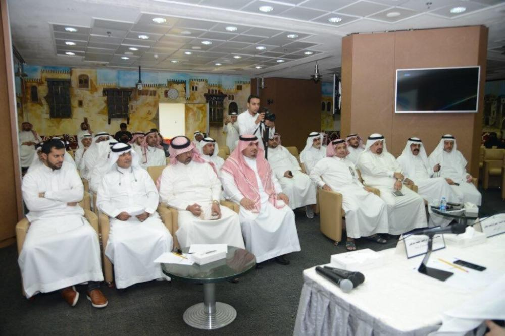 Businessmen and owners listen to MODON Director General Khaled Al-SalemJeddah Chamber of Commerce and Industry (JCCI).