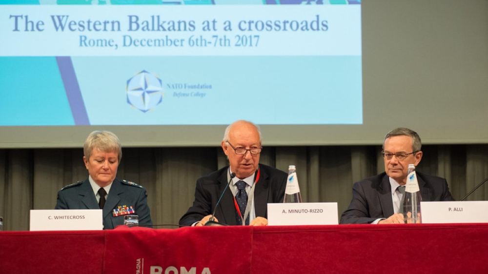"""NATO Commander Chris Whitecross during """"The Western Balkans at a crossroads"""" in Rome, Italy. — Courtesy photos"""