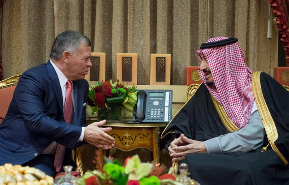 Custodian of the Two Holy Mosques King Salman holds talks with King Abdullah of Jordan at his palace in Riyadh on Tuesday. — SPA