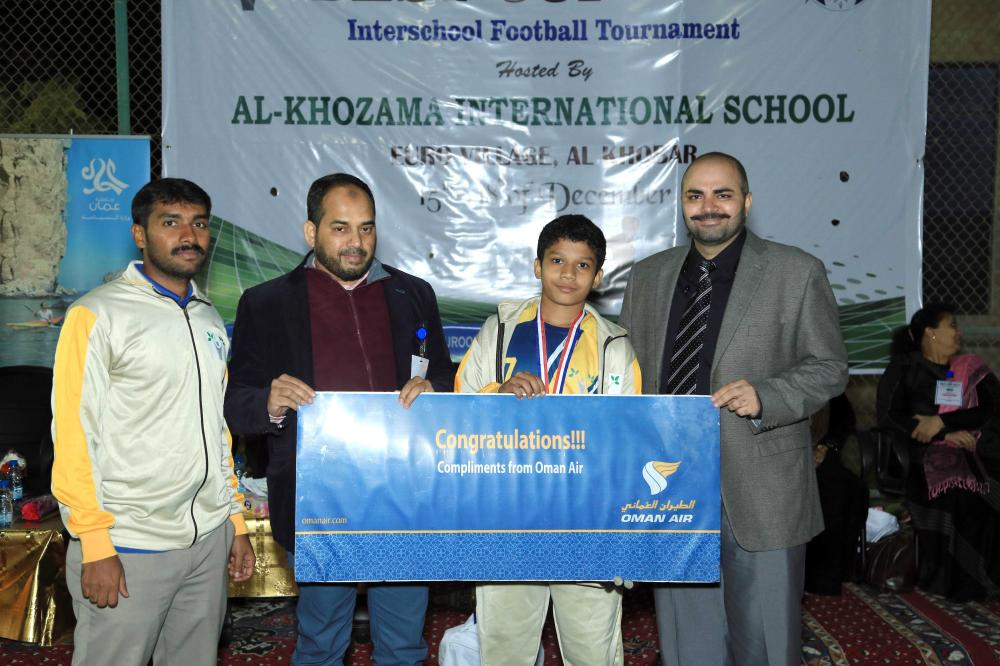 Shuaib of New Al-Wurood receives an Oman Air ticket for the Best Player of the Tournament.